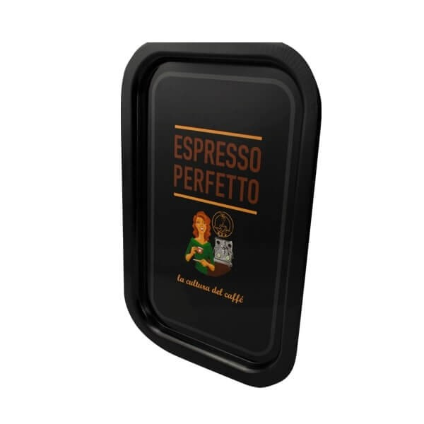 Espresso Perfetto Tablett in schwarz Frau