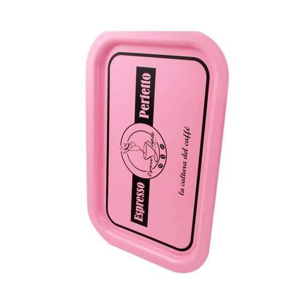 Espresso Perfetto Tablett in rosa Logo