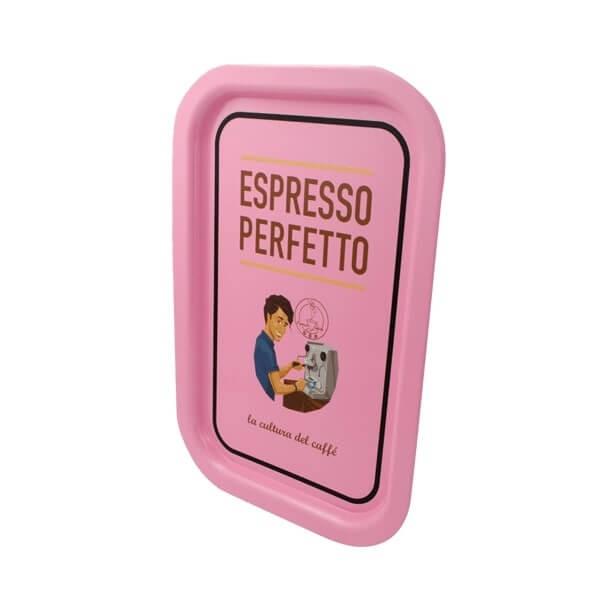 Espresso Perfetto Tablett in rosa Mann Abbildung